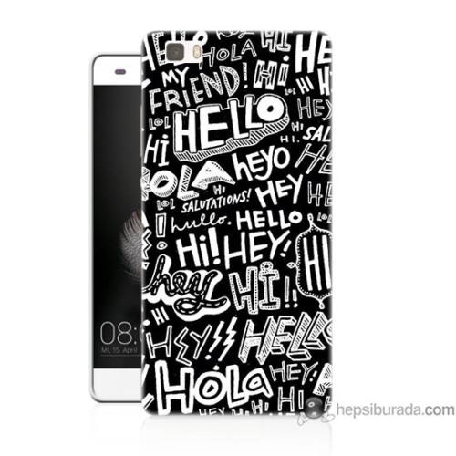 Bordo Huawei P8 Lite Kapak Kılıf Hello Baskılı Silikon