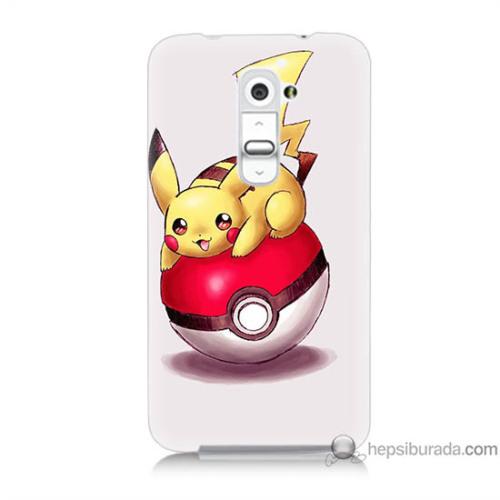 Bordo Lg G2 Kapak Kılıf Pokemon Topu Baskılı Silikon