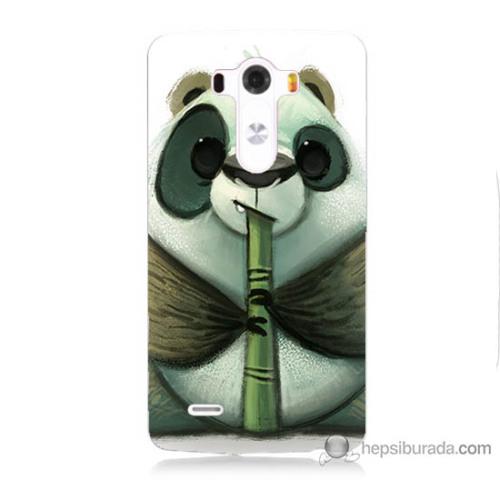 Bordo Lg G3 Kapak Kılıf Flütlü Panda Baskılı Silikon