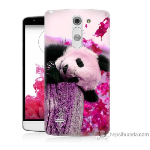 Bordo Lg G3 Stylus Kapak Kılıf Sevimli Panda Baskılı Silikon