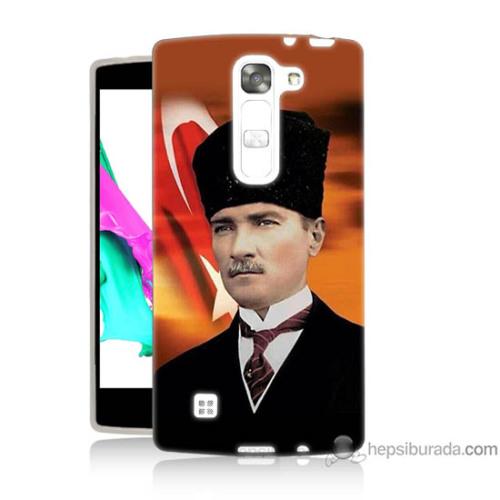 Bordo Lg G4c Kapak Kılıf Atatürk Ve Bayrak Baskılı Silikon