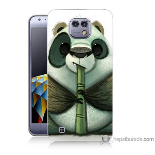 Bordo Lg X Cam Kapak Kılıf Flütlü Panda Baskılı Silikon