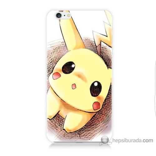 Bordo iPhone 6s Plus Kapak Kılıf Pokemon Resim Baskılı Silikon