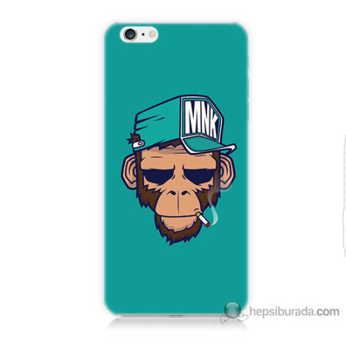 Bordo iPhone 6s Plus Kapak Kılıf Sakallı Maymun Baskılı Silikon