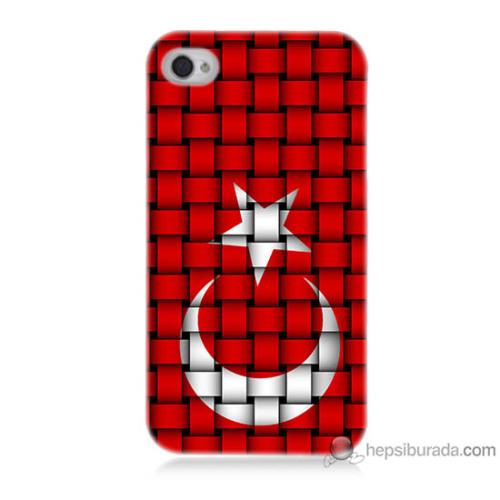 Bordo iPhone 4 Kapak Kılıf Kareli Türk Bayrağı Baskılı Silikon