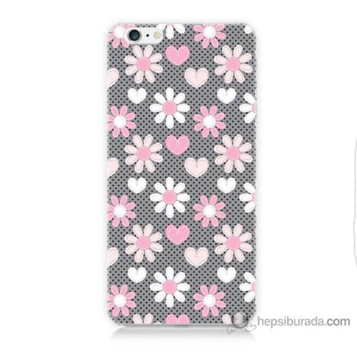 Bordo iPhone 6s Plus Kapak Kılıf Papatya Baskılı Silikon