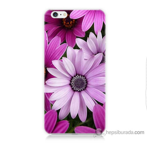 Bordo iPhone 6s Plus Kapak Kılıf Mor Çiçek Baskılı Silikon