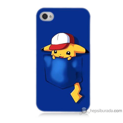 Bordo iPhone 4 Kapak Kılıf Uykucu Pikachu Baskılı Silikon