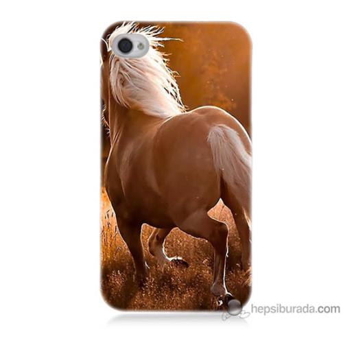 Bordo iPhone 4 Kapak Kılıf At Baskılı Silikon