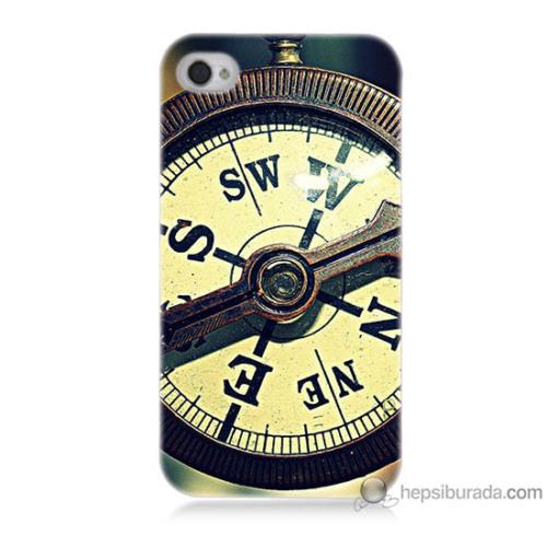 Bordo iPhone 4s Kapak Kılıf Pusula Baskılı Silikon