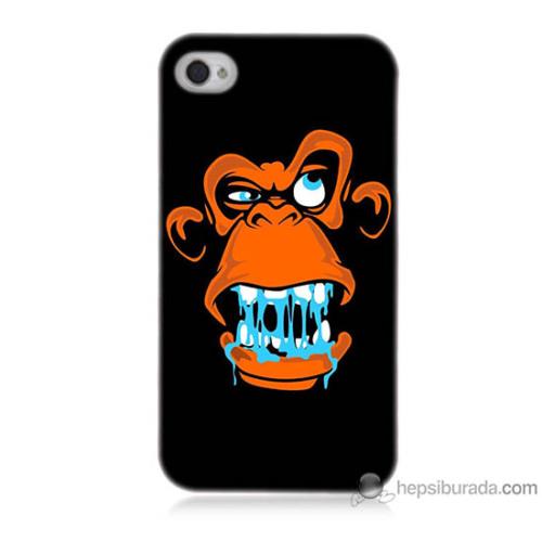 Bordo iPhone 4s Kapak Kılıf Turuncu Goril Baskılı Silikon