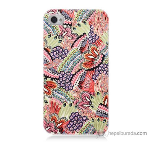 Bordo iPhone 4s Kapak Kılıf Renkli Desenler Baskılı Silikon