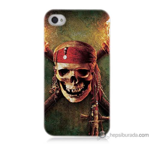 Bordo iPhone 4s Kapak Kılıf Korsan Kuru Kafa Baskılı Silikon