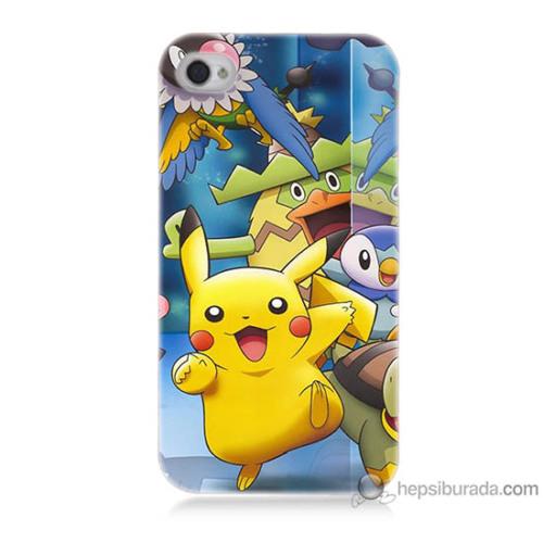 Bordo iPhone 4s Kapak Kılıf Pikachu Ve Arkadaşları Baskılı Silikon
