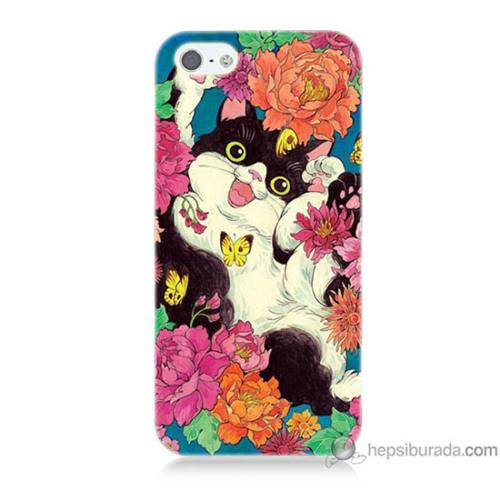 Bordo iPhone 5 Kapak Kılıf Mutlu Kedicik Baskılı Silikon