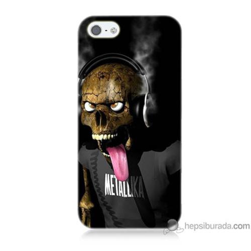 Bordo iPhone 5s Kapak Kılıf Kuru Kafa Baskılı Silikon