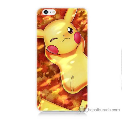 Bordo iPhone 6 Kapak Kılıf Yatan Pikachu Baskılı Silikon