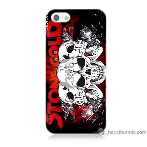 Bordo iPhone 5s Kapak Kılıf Yazılı Kuru Kafa Baskılı Silikon
