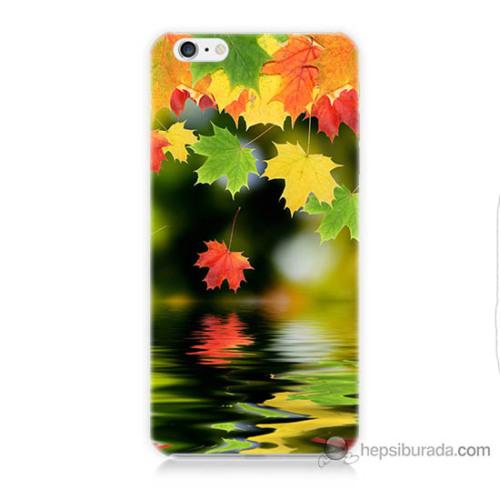 Bordo iPhone 6 Kapak Kılıf Renkli Yaprak Baskılı Silikon
