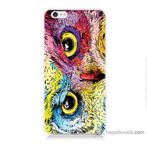 Bordo iPhone 6 Kapak Kılıf Tatlı Baykuş Baskılı Silikon