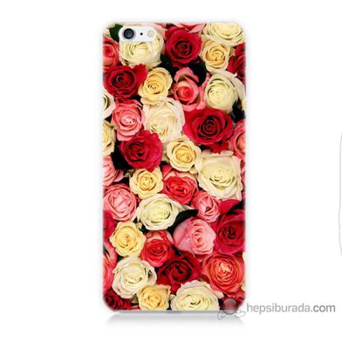 Bordo iPhone 6s Kapak Kılıf Gül Bahçesi Baskılı Silikon