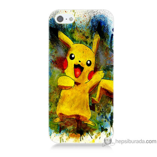 Bordo iPhone Se Kapak Kılıf Tablo Pikachu Baskılı Silikon