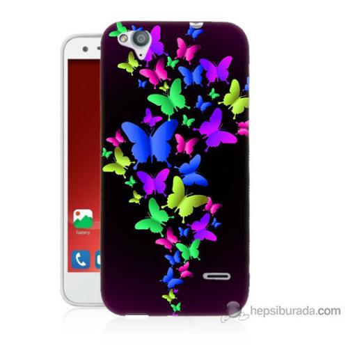 Bordo Turkcell T60 Kapak Kılıf Renkli Kelebekler Baskılı Silikon