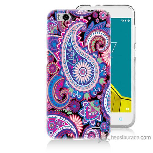 Bordo Vodafone Smart 6 Kapak Kılıf Renkli Çizim Baskılı Silikon