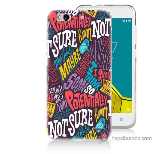 Bordo Vodafone Smart 6 Kapak Kılıf Renkli Yazılar Baskılı Silikon