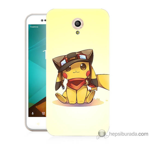 Bordo Vodafone Smart Style 7 Kapak Kılıf Pokemon Baskılı Silikon
