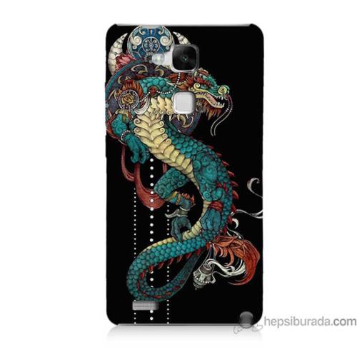 Teknomeg Huawei Mate 7 Kapak Kılıf Ejderha Baskılı Silikon