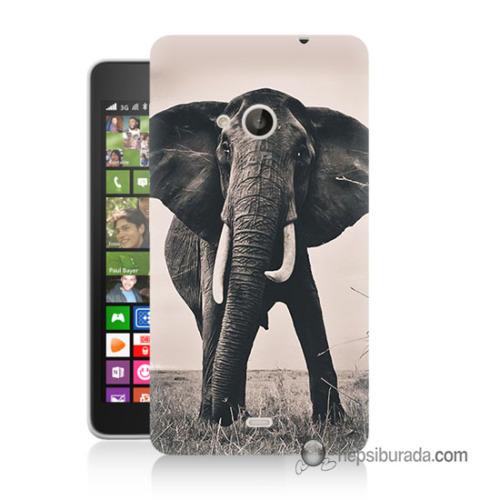 Teknomeg Nokia Lumia 535 Kılıf Kapak Fil Baskılı Silikon