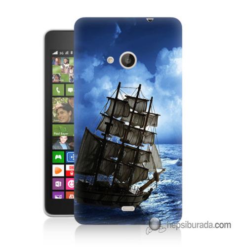 Teknomeg Nokia Lumia 535 Kapak Kılıf Yelkenli Baskılı Silikon