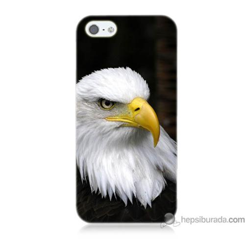 Teknomeg iPhone 5s Kapak Kılıf Siyah Kartal Baskılı Silikon
