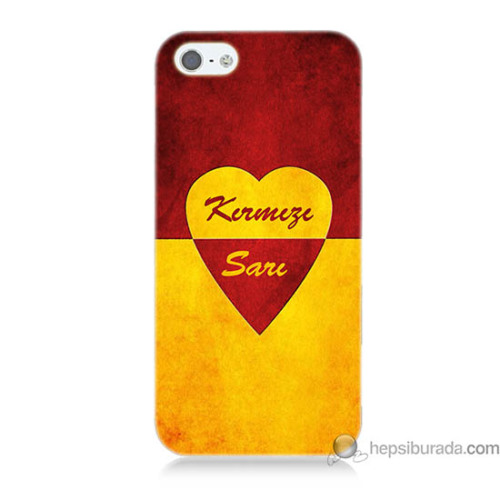 Teknomeg iPhone 5s Kapak Kılıf Sarı Kırmızı Baskılı Silikon