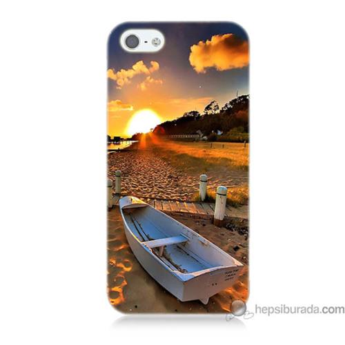 Teknomeg iPhone Se Kapak Kılıf Kumsal Manzara Baskılı Silikon