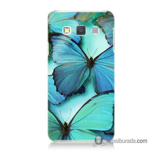 Teknomeg Samsung Galaxy A5 Kılıf Kapak Mavi Kelebekler Baskılı Silikon