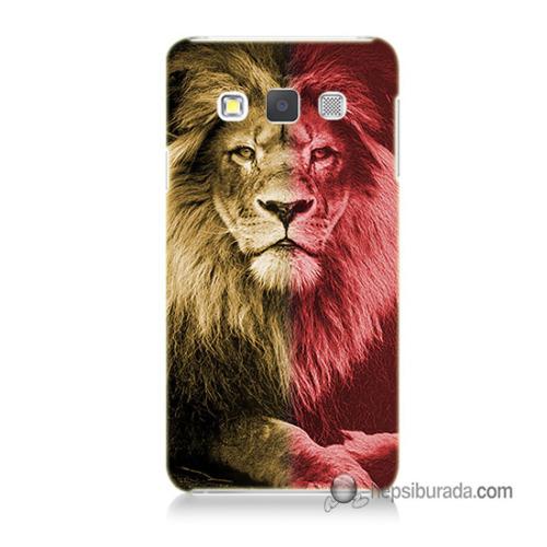 Teknomeg Samsung Galaxy A5 Kapak Kılıf Sarı Kırmızı Aslan Baskılı Silikon