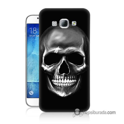 Teknomeg Samsung Galaxy A8 Kapak Kılıf Kurukafa Baskılı Silikon