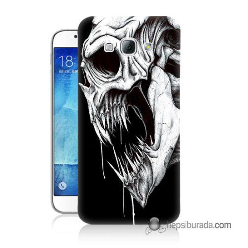 Teknomeg Samsung Galaxy A8 Kapak Kılıf İskelet Canavar Baskılı Silikon