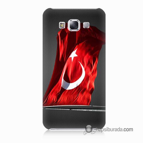 Teknomeg Samsung Galaxy E5 Kapak Kılıf Türk Bayrağı Baskılı Silikon