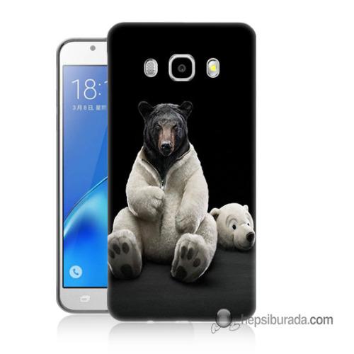 Teknomeg Samsung Galaxy J5 2016 Kapak Kılıf Kostümlü Ayı Baskılı Silikon