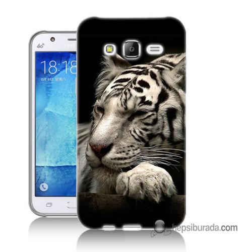 Teknomeg Samsung Galaxy J7 Kapak Kılıf Uyuyan Leopar Baskılı Silikon