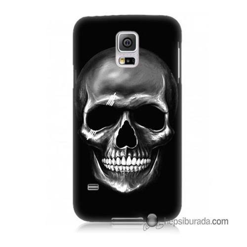 Teknomeg Samsung Galaxy S5 Kapak Kılıf Kurukafa Baskılı Silikon
