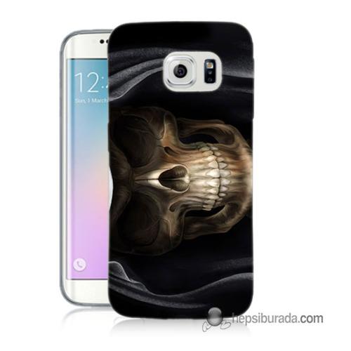 Teknomeg Samsung Galaxy S6 Edge Kapak Kılıf Kurukafa Baskılı Silikon