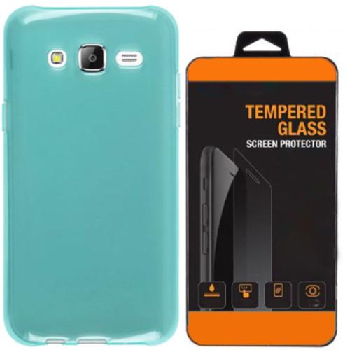 Kılıfland Samsung Galaxy E7 Kılıf 0.2 Silikon Mavi+Temperli Cam