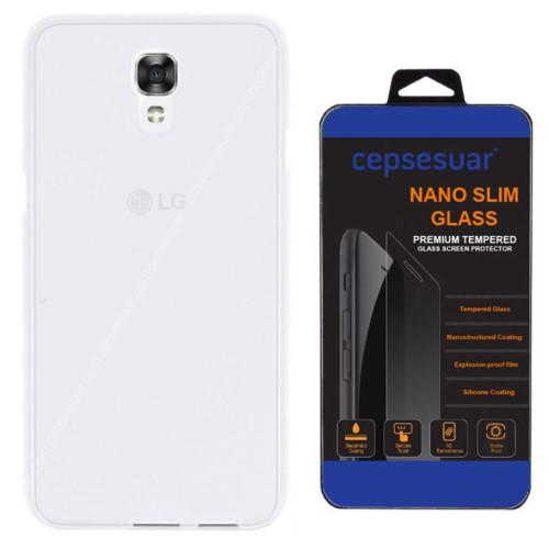 Cepsesuar LG X Screen Kılıf Silikon 0.2 mm Şeffaf + Kırılmaz Cam