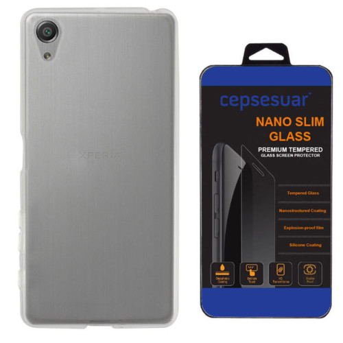 Cepsesuar Sony Xperia E5 Kılıf Silikon 0.2 mm Şeffaf + Kırılmaz Cam