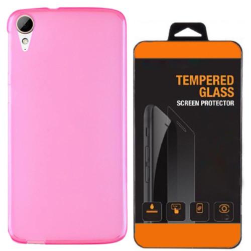 Kılıfland Htc Desire 728 Kılıf 0.2 Silikon Pembe+Temperli Cam