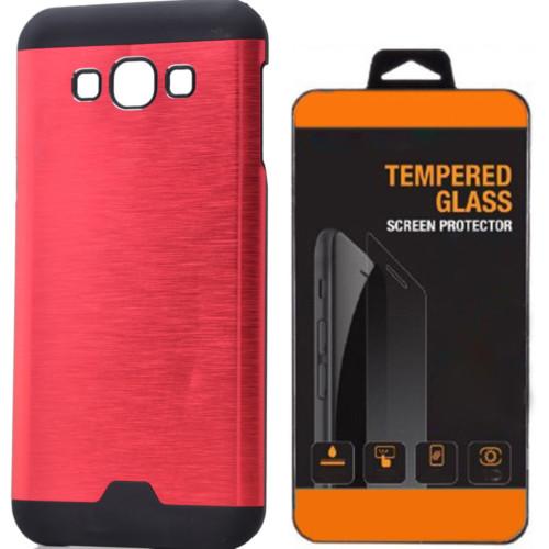 Kılıfland Samsung Galaxy A3 Kılıf Metal Motomo Kırmızı+Cam